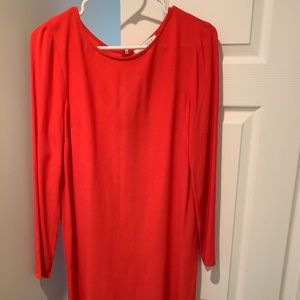 Coral Red Sheath Longsleeve Dress